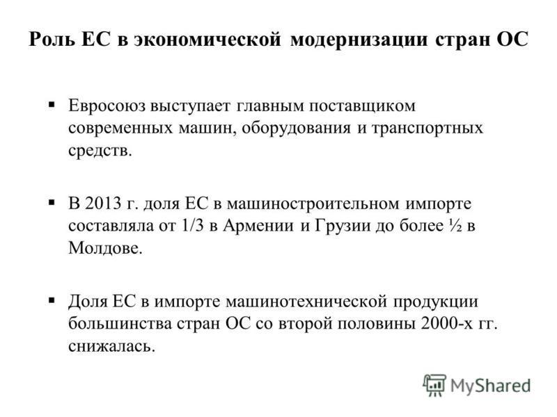 Роль ЕС в экономической модернизации стран ОС Евросоюз выступает главным поставщиком современных машин, оборудования и транспортных средств. В 2013 г. доля ЕС в машиностроительном импорте составляла от 1/3 в Армении и Грузии до более ½ в Молдове. Дол