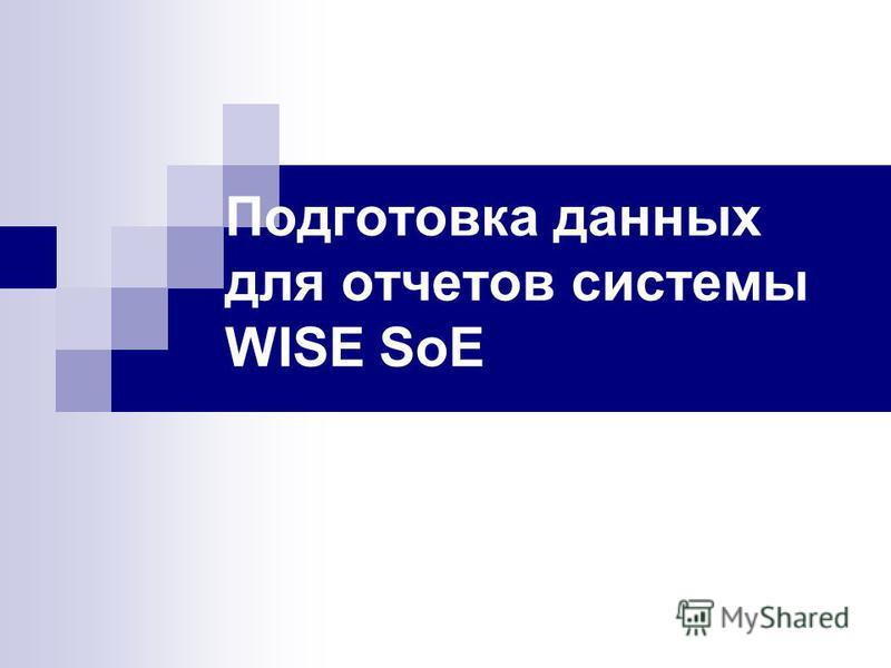 Подготовка данных для отчетов системы WISE SoE