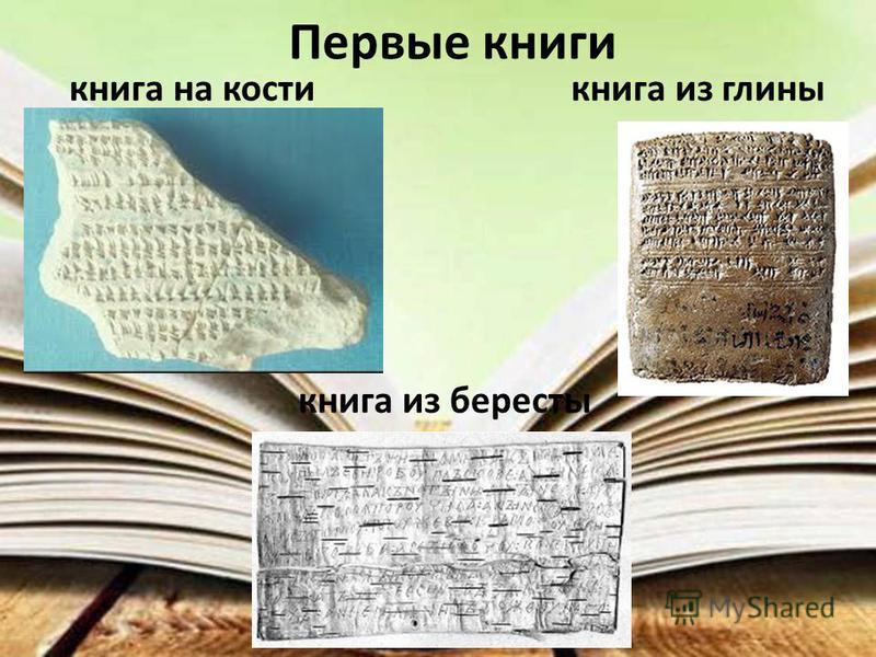 Первые книги книга на кости книга из глины книга из бересты