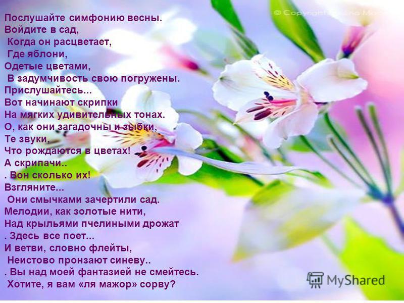 Послушайте симфонию весны. Войдите в сад, Когда он расцветает, Где яблони, Одетые цветами, В задумчивость свою погружены. Прислушайтесь... Вот начинают скрипки На мягких удивительных тонах. О, как они загадочны и зыбки, Те звуки, Что рождаются в цвет