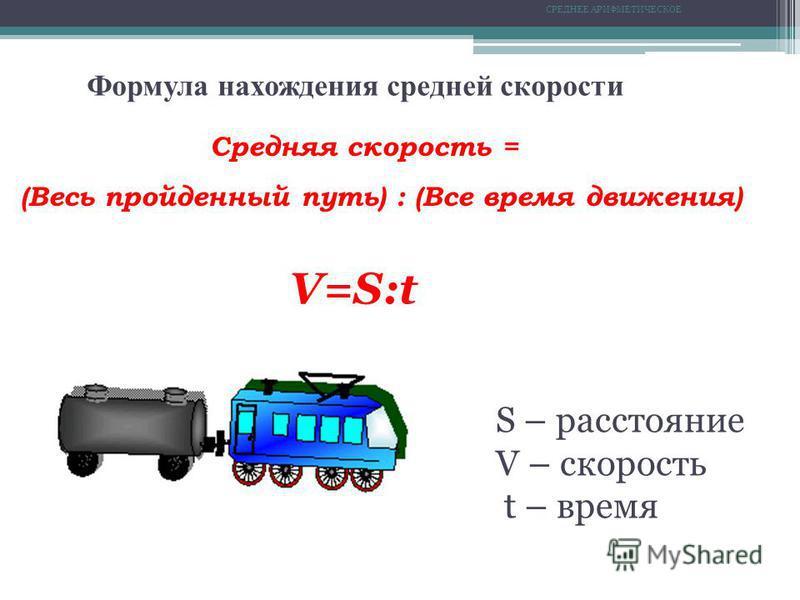 СРЕДНЕЕ АРИФМЕТИЧЕСКОЕ Формула нахождения средней скорости Средняя скорость = (Весь пройденный путь) : (Все время движения) V=S:t S – расстояние V – скорость t – время