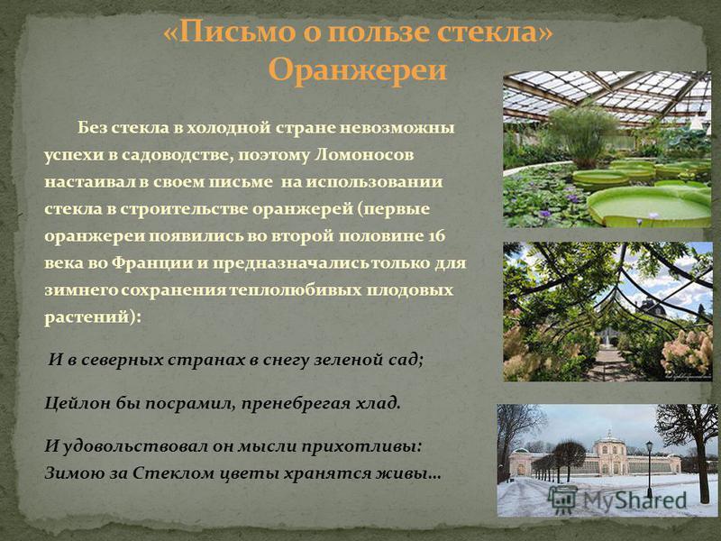 Без стекла в холодной стране невозможны успехи в садоводстве, поэтому Ломоносов настаивал в своем письме на использовании стекла в строительстве оранжерей (первые оранжереи появились во второй половине 16 века во Франции и предназначались только для