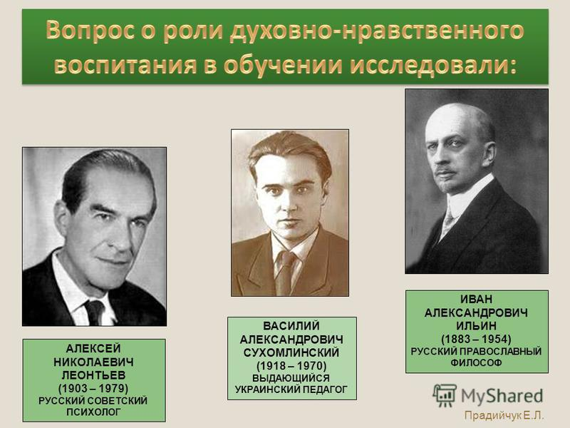 ИВАН АЛЕКСАНДРОВИЧ ИЛЬИН (1883 – 1954) РУССКИЙ ПРАВОСЛАВНЫЙ ФИЛОСОФ АЛЕКСЕЙ НИКОЛАЕВИЧ ЛЕОНТЬЕВ (1903 – 1979) РУССКИЙ СОВЕТСКИЙ ПСИХОЛОГ ВАСИЛИЙ АЛЕКСАНДРОВИЧ СУХОМЛИНСКИЙ (1918 – 1970) ВЫДАЮЩИЙСЯ УКРАИНСКИЙ ПЕДАГОГ Прадийчук Е.Л.