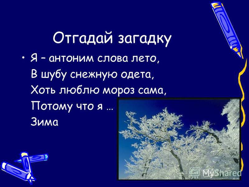 Отгадай загадку Я – антоним слова лето, В шубу снежную одета, Хоть люблю мороз сама, Потому что я … Зима