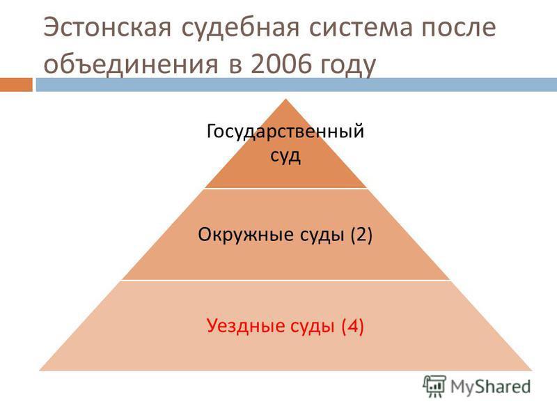 Эстонская судебная система после объединения в 2006 году Государственный суд Окружные суды (2) Уездные суды (4)