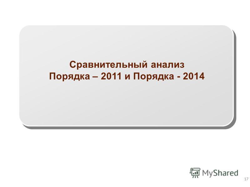 17 Сравнительный анализ Порядка – 2011 и Порядка - 2014