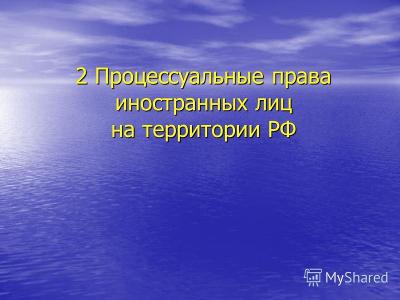2 Процессуальные права иностранных лиц на территории РФ