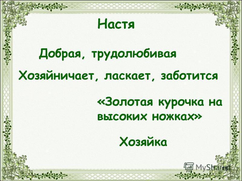 15 Настя Добрая, трудолюбивая Хозяйничает, ласкает, заботится «Золотая курочка на высоких ножках» Хозяйка