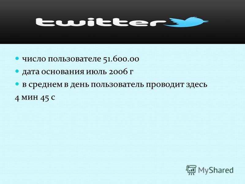 число пользователе 51.600.00 дата основания июль 2006 г в среднем в день пользователь проводит здесь 4 мин 45 с