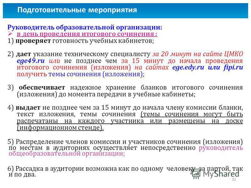 Руководитель образовательной организации: в день проведения итогового сочинения : 1) проверяет готовность учебных кабинетов; 2) дает указание техническому специалисту за 20 минут на сайте ЦМКО ege49. ru или не позднее чем за 15 минут до начала провед