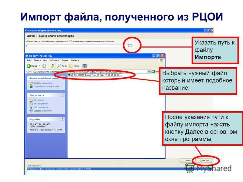Импорт файла, полученного из РЦОИ Указать путь к файлу Импорта. Выбрать нужный файл, который имеет подобное название. После указания пути к файлу импорта нажать кнопку Далее в основном окне программы.