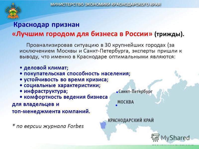 Краснодар признан «Лучшим городом для бизнеса в России» (трижды). Проанализировав ситуацию в 30 крупнейших городах (за исключением Москвы и Санкт-Петербурга, эксперты пришли к выводу, что именно в Краснодаре оптимальными являются: деловой климат; пок