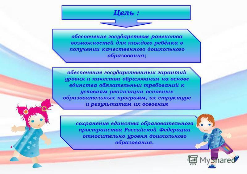 Цель : обеспечение государством равенства возможностей для каждого ребёнка в получении качественного дошкольного образования; обеспечение государственных гарантий уровня и качества образования на основе единства обязательных требований к условиям реа