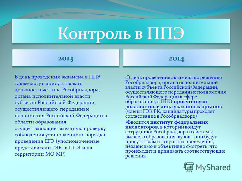 2013 2014 В день проведения экзамена в ППЭ также могут присутствовать должностные лица Рособрнадзора, органа исполнительной власти субъекта Российской Федерации, осуществляющего переданные полномочия Российской Федерации в области образования, осущес