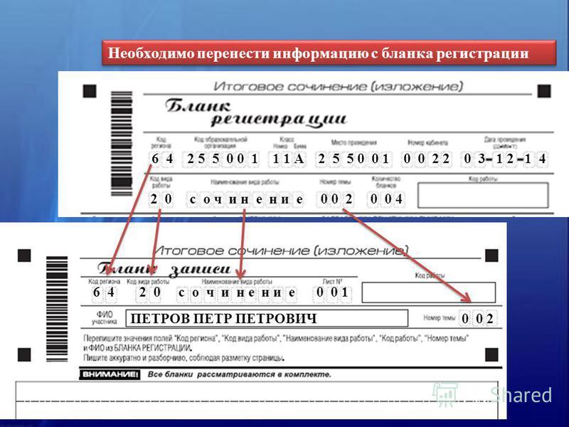 Необходимо перенести информацию с бланка регистрации 6 4 2 0 с о ч и н е н и е 0 0 1 ПЕТРОВ ПЕТР ПЕТРОВИЧ 0 0 2 6 4 2 5 5 0 0 1 1 1 А 2 5 5 0 0 1 0 0 2 2 0 3 1 2 1 4 2 0 с о ч и н е н и е 0 0 2 0 0 4
