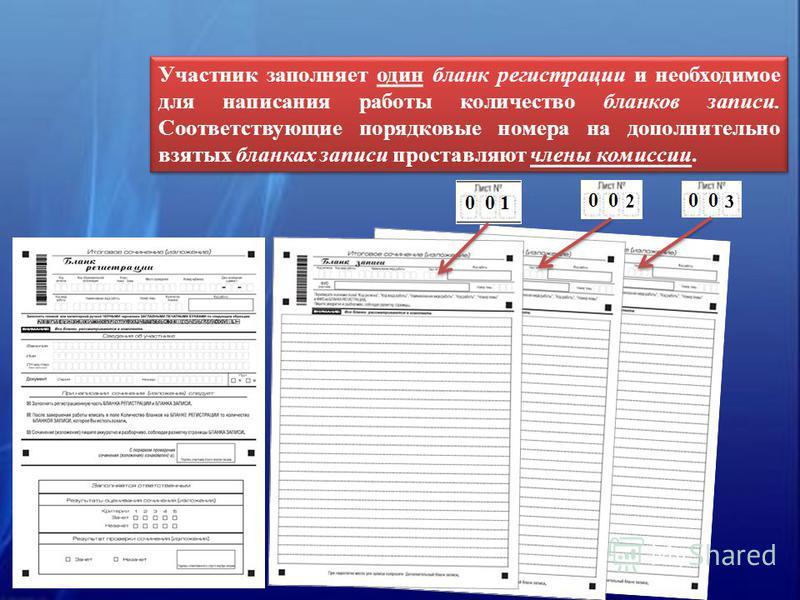 Участник заполняет один бланк регистрации и необходимое для написания работы количество бланков записи. Соответствующие порядковые номера на дополнительно взятых бланках записи проставляют члены комиссии.