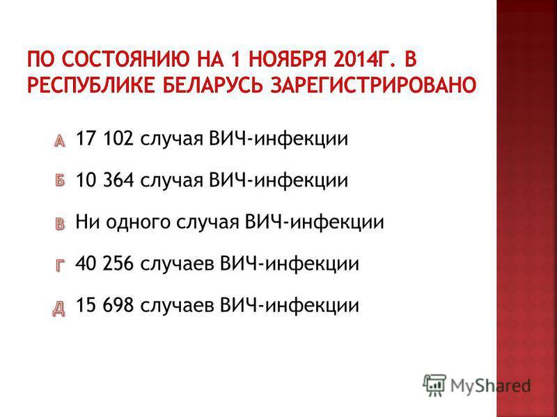 15 698 случаев ВИЧ-инфекции 40 256 случаев ВИЧ-инфекции Ни одного случая ВИЧ-инфекции 10 364 случая ВИЧ-инфекции 17 102 случая ВИЧ-инфекции