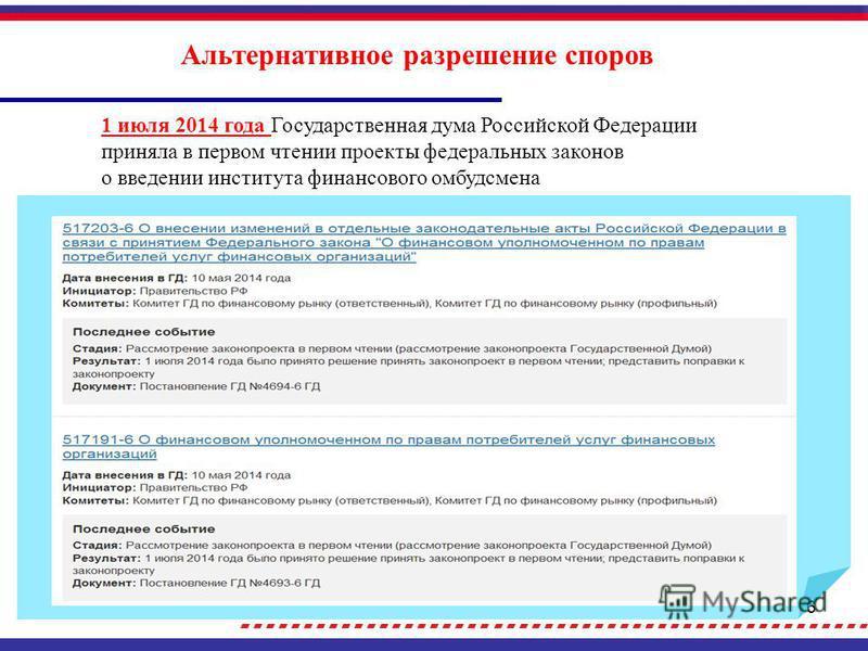 6 Альтернативное разрешение споров 1 июля 2014 года Государственная дума Российской Федерации приняла в первом чтении проекты федеральных законов о введении института финансового омбудсмена