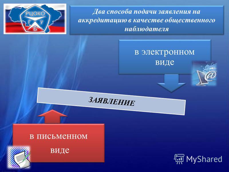 Два способа подачи заявления на аккредитацию в качестве общественного наблюдателя в электронном виде в письменном виде ЗАЯВЛЕНИЕ