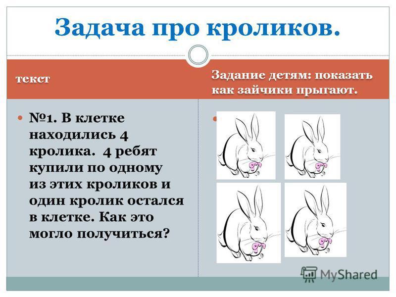 текст Задание детям: показать как зайчики прыгают. 1. В клетке находились 4 кролика. 4 ребят купили по одному из этих кроликов и один кролик остался в клетке. Как это могло получиться? Задача про кроликов.