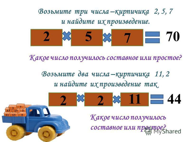 Возьмите три числа –кирпичика 2, 5, 7 и найдите их произведение. 2 7 570 Какое число получилось составное или простое? Возьмите два числа –кирпичика 11, 2 и найдите их произведение так 2 11 2 44 Какое число получилось составное или простое?