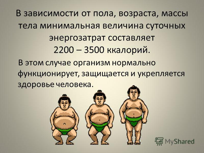 В зависимости от пола, возраста, массы тела минимальная величина суточных энергозатрат составляет 2200 – 3500 калорий. В этом случае организм нормально функционирует, защищается и укрепляется здоровье человека.
