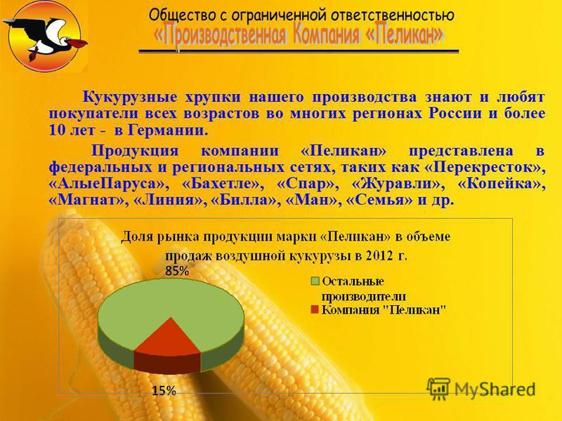Кукурузные хрупки нашего производства знают и любят покупатели всех возрастов во многих регионах России и более 10 лет - в Германии. Продукция компании «Пеликан» представлена в федеральных и региональных сетях, таких как «Перекресток», «Алые Паруса»,
