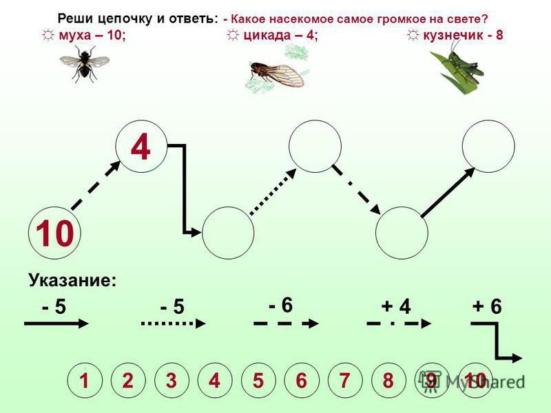 10 Указание: - 5 - 6 + 4+ 6 1 2345678910 Реши цепочку и ответь: - Какое насекомое самое громкое на свете? муха – 10; цикада – 4; кузнечик - 8