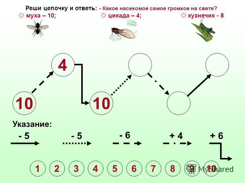 10 4 Указание: - 5 - 6 + 4+ 6 1 2345678910 Реши цепочку и ответь: - Какое насекомое самое громкое на свете? муха – 10; цикада – 4; кузнечик - 8