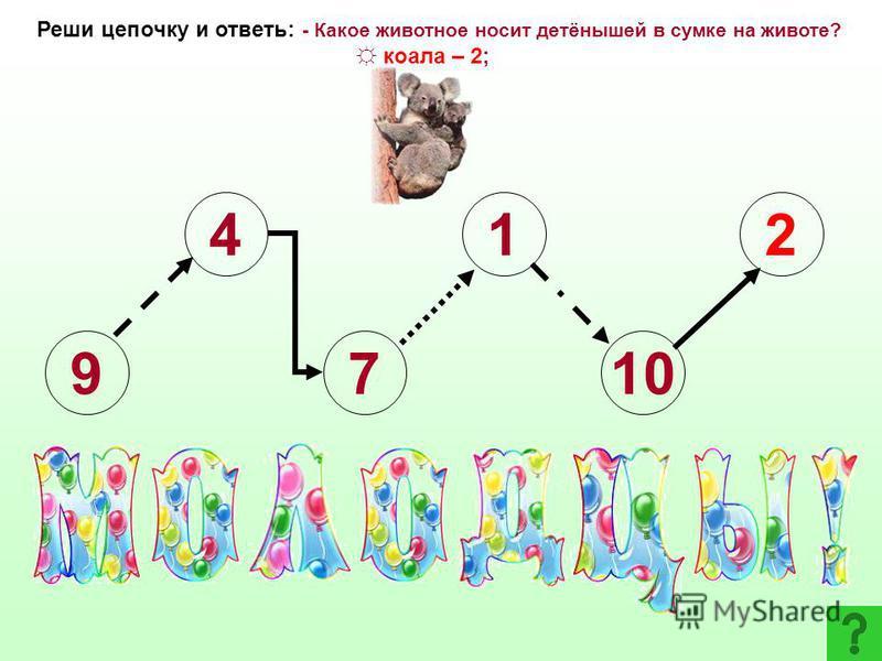 9 4 7 1 Указание: - 8- 6 - 5 + 9+ 3 Реши цепочку и ответь: - Какое животное носит детёнышей в сумке на животе? енот – 3; коала – 2; шимпанзе - 8 1 2345678910