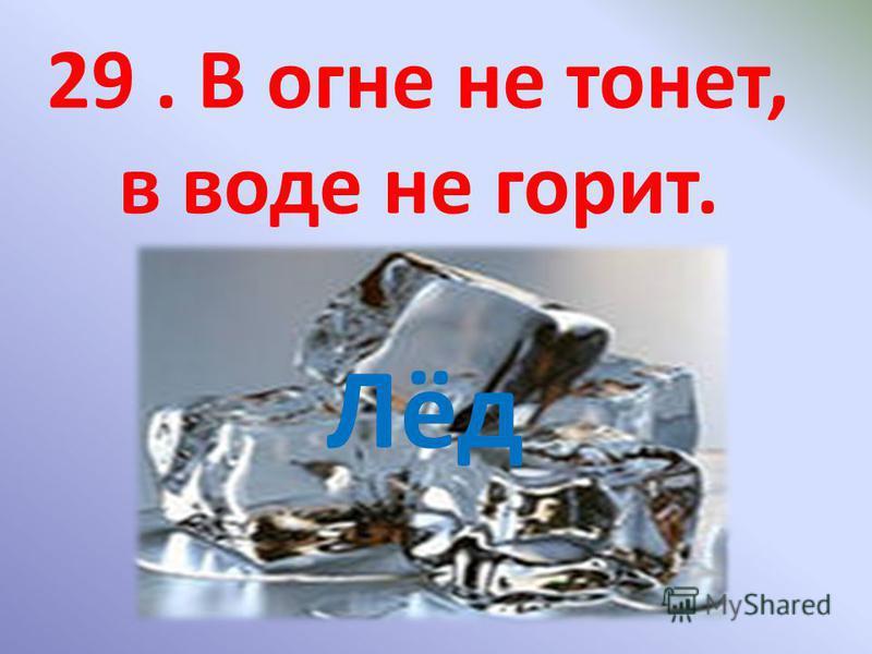 29. В огне не тонет, в воде не горит. Лёд
