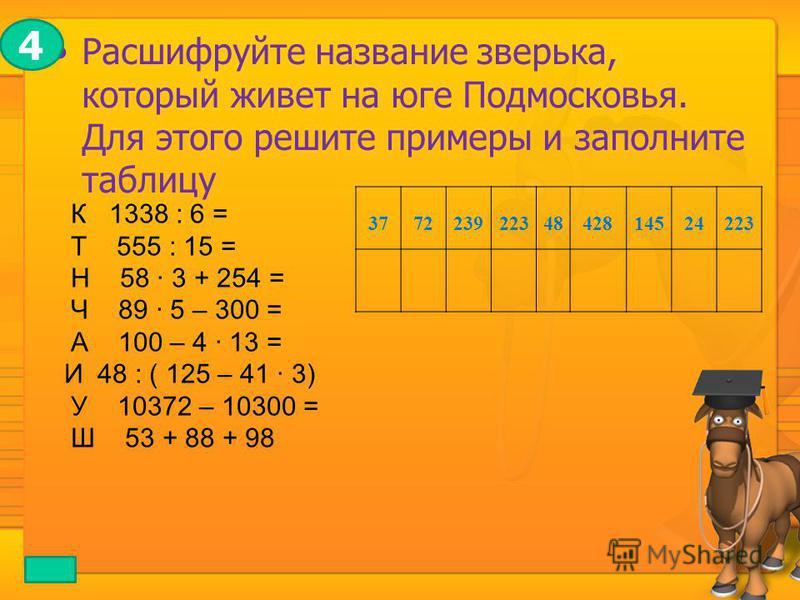 Расшифруйте название зверька, который живет на юге Подмосковья. Для этого решите примеры и заполните таблицу К 1338 : 6 = Т 555 : 15 = Н 58 · 3 + 254 = Ч 89 · 5 – 300 = А 100 – 4 · 13 = И 48 : ( 125 – 41 · 3) У 10372 – 10300 = Ш 53 + 88 + 98 37722392