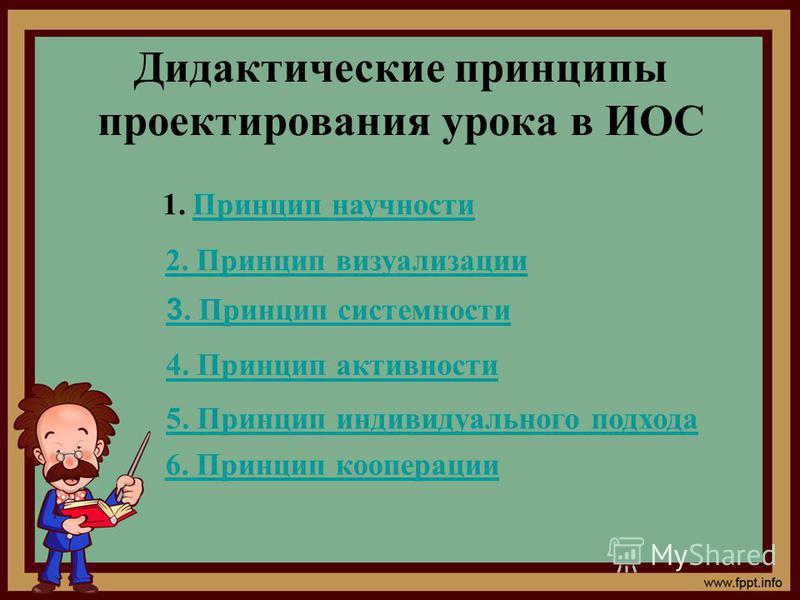 Дидактические принципы проектирования урока в ИОС 1. Принцип научности Принцип научности 2. Принцип визуализации 3. Принцип системности 4. Принцип активности 5. Принцип индивидуального подхода 6. Принцип кооперации