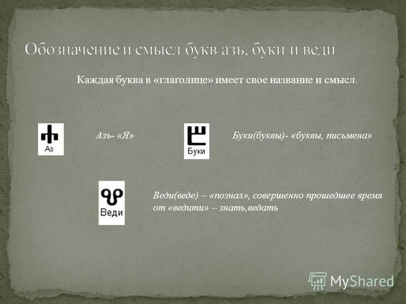 Каждая буква в «глаголице» имеет свое название и смысл. Азъ- «Я»Буки(буквы)- «буквы, письмена» Веди(веде) – «познал», совершенно прошедшее время от «введите» – знать,ведать