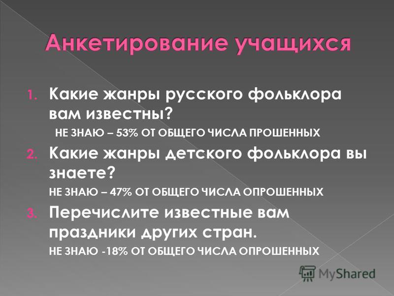1. Какие жанры русского фольклора вам известны? НЕ ЗНАЮ – 53% ОТ ОБЩЕГО ЧИСЛА ПРОШЕННЫХ 2. Какие жанры детского фольклора вы знаете? НЕ ЗНАЮ – 47% ОТ ОБЩЕГО ЧИСЛА ОПРОШЕННЫХ 3. Перечислите известные вам праздники других стран. НЕ ЗНАЮ -18% ОТ ОБЩЕГО