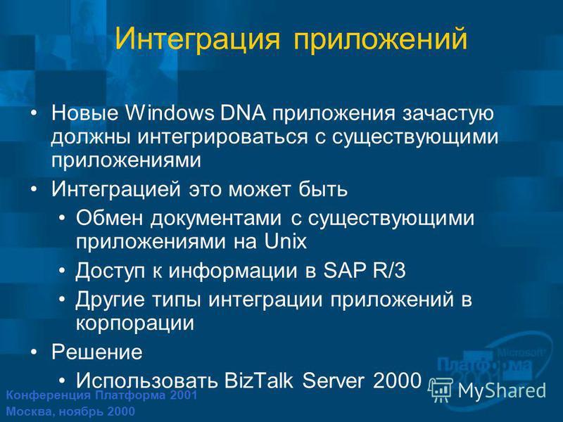 Конференция Платформа 2001 Москва, ноябрь 2000 Интеграция приложений Новые Windows DNA приложения зачастую должны интегрироваться с существующими приложениями Интеграцией это может быть Обмен документами с существующими приложениями на Unix Доступ к