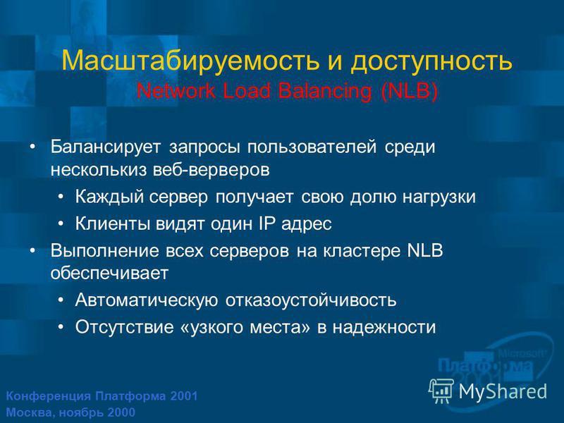 Конференция Платформа 2001 Москва, ноябрь 2000 Масштабируемость и доступность Network Load Balancing (NLB) Балансирует запросы пользователей среди нескольких веб-серверов Каждый сервер получает свою долю нагрузки Клиенты видят один IP адрес Выполнени