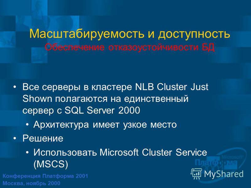 Конференция Платформа 2001 Москва, ноябрь 2000 Масштабируемость и доступность Обеспечение отказоустойчивости БД Все серверы в кластере NLB Cluster Just Shown полагаются на единственный сервер с SQL Server 2000 Архитектура имеет узкое место Решение Ис