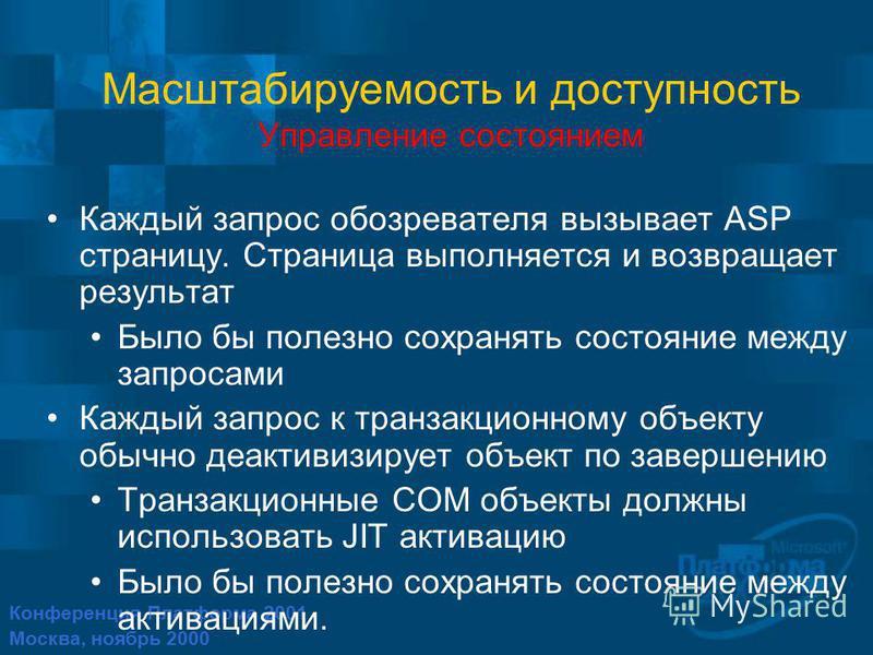 Конференция Платформа 2001 Москва, ноябрь 2000 Масштабируемость и доступность Управление состоянием Каждый запрос обозревателя вызывает ASP страницу. Страница выполняется и возвращает результат Было бы полезно сохранять состояние между запросами Кажд