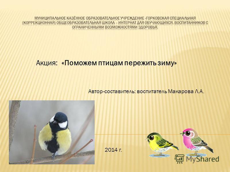 Акция: «Поможем птицам пережить зиму» Автор-составитель: воспитатель Макарова Л.А. 2014 г.