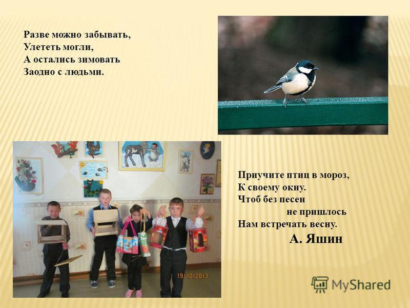 Приучите птиц в мороз, К своему окну. Чтоб без песен не пришлось Нам встречать весну. А. Яшин Разве можно забывать, Улететь могли, А остались зимовать Заодно с людьми.