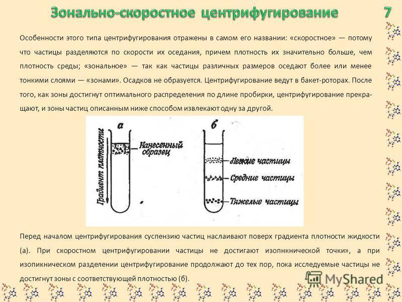 Особенности этого типа центрифугирования отражены в самом его названии: «скоростное» потому что частицы разделяются по скорости их оседания, причем плотность их значительно больше, чем плотность среды; «зональное» так как частицы различных размеров