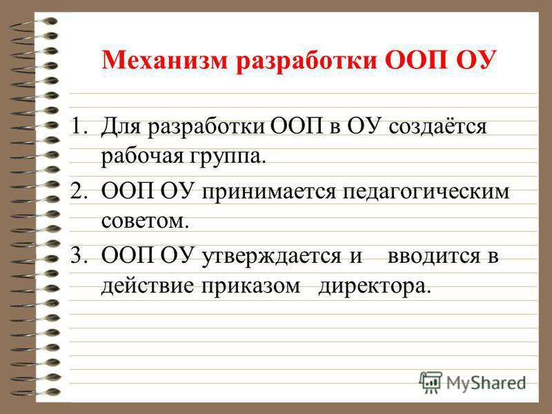Механизм разработки ООП ОУ 1. Для разработки ООП в ОУ создаётся рабочая группа. 2. ООП ОУ принимается педагогическим советом. 3. ООП ОУ утверждается и вводится в действие приказом директора.