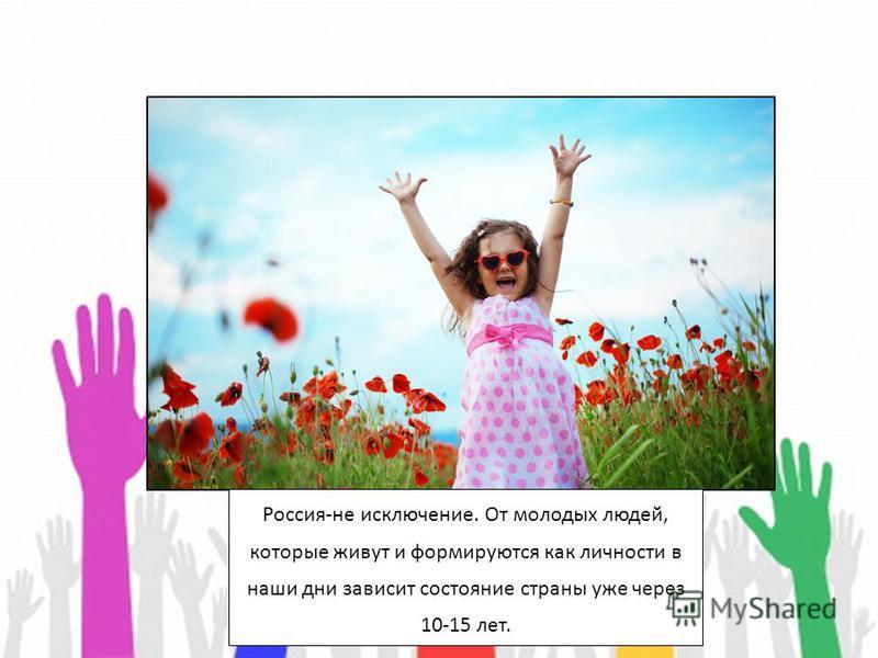 Россия-не исключение. От молодых людей, которые живут и формируются как личности в наши дни зависит состояние страны уже через 10-15 лет.