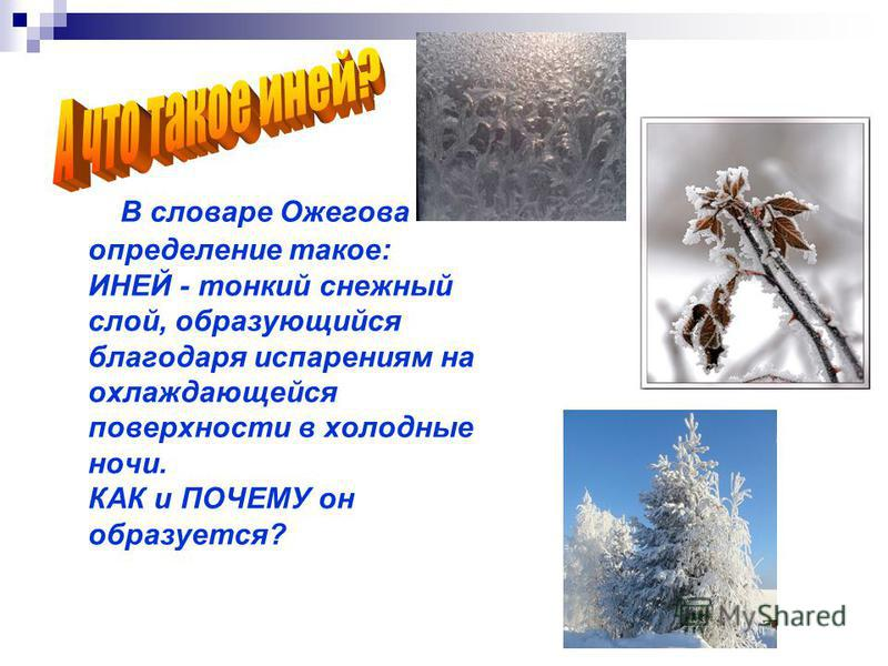 В словаре Ожегова определение такое: ИНЕЙ - тонкий снежный слой, образующийся благодаря испарениям на охлаждающейся поверхности в холодные ночи. КАК и ПОЧЕМУ он образуется?
