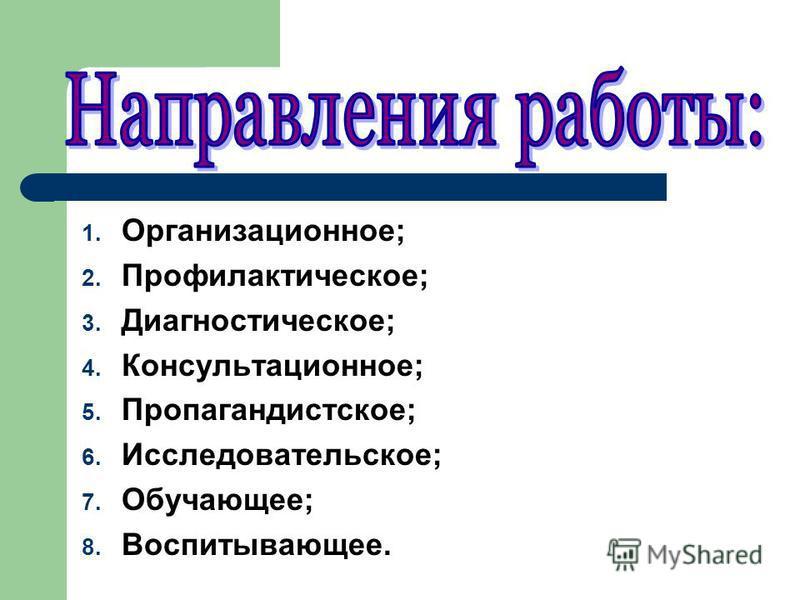 1. Организационное; 2. Профилактическое; 3. Диагностическое; 4. Консультационное; 5. Пропагандистское; 6. Исследовательское; 7. Обучающее; 8. Воспитывающее.