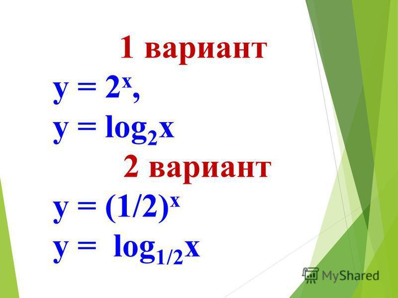 1 вариант у = 2 х, у = log 2 х 2 вариант у = (1/2) х у = log 1/2 х