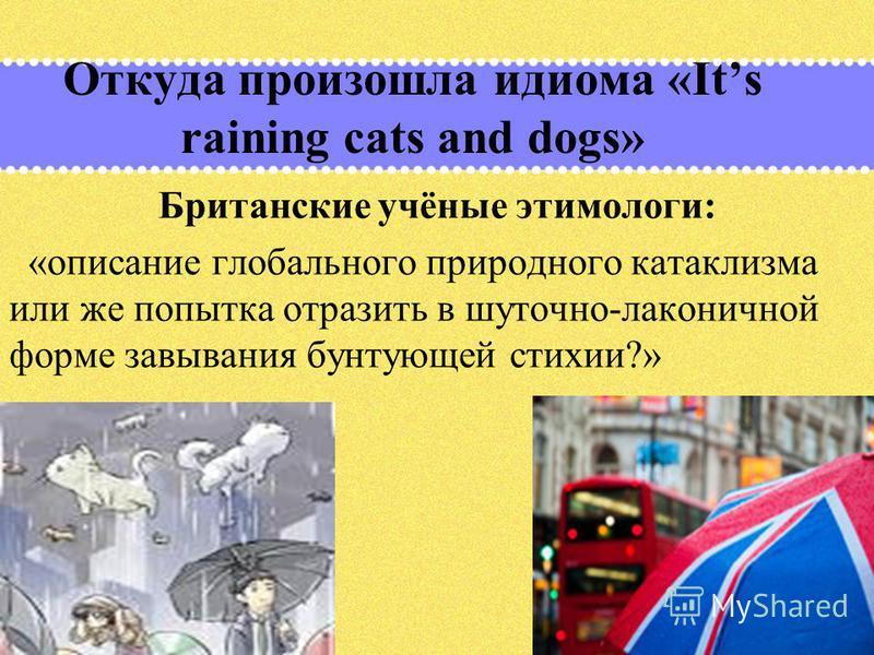 Откуда произошла идиома «Its raining cats and dogs» Британские учёные этимологи: «описание глобального природного катаклизма или же попытка отразить в шуточно-лаконичной форме завывания бунтующей стихии?»