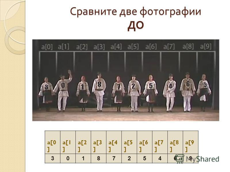 Сравните две фотографии ДО a[0 ] a[1 ] a[2 ] a[3 ] a[4 ] a[5 ] a[6 ] a[7 ] a[8 ] a[9 ] 3018725469