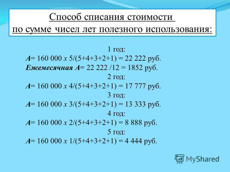 Способ списания стоимости по сумме чисел лет полезного использования: 1 год: А= 160 000 х 5/(5+4+3+2+1) = 22 222 руб. Ежемесячная А= 22 222 /12 = 1852 руб. 2 год: А= 160 000 х 4/(5+4+3+2+1) = 17 777 руб. 3 год: А= 160 000 х 3/(5+4+3+2+1) = 13 333 руб